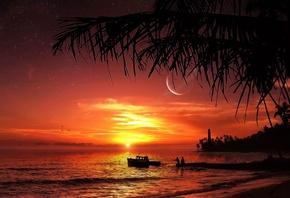 картинки закат море пальмы