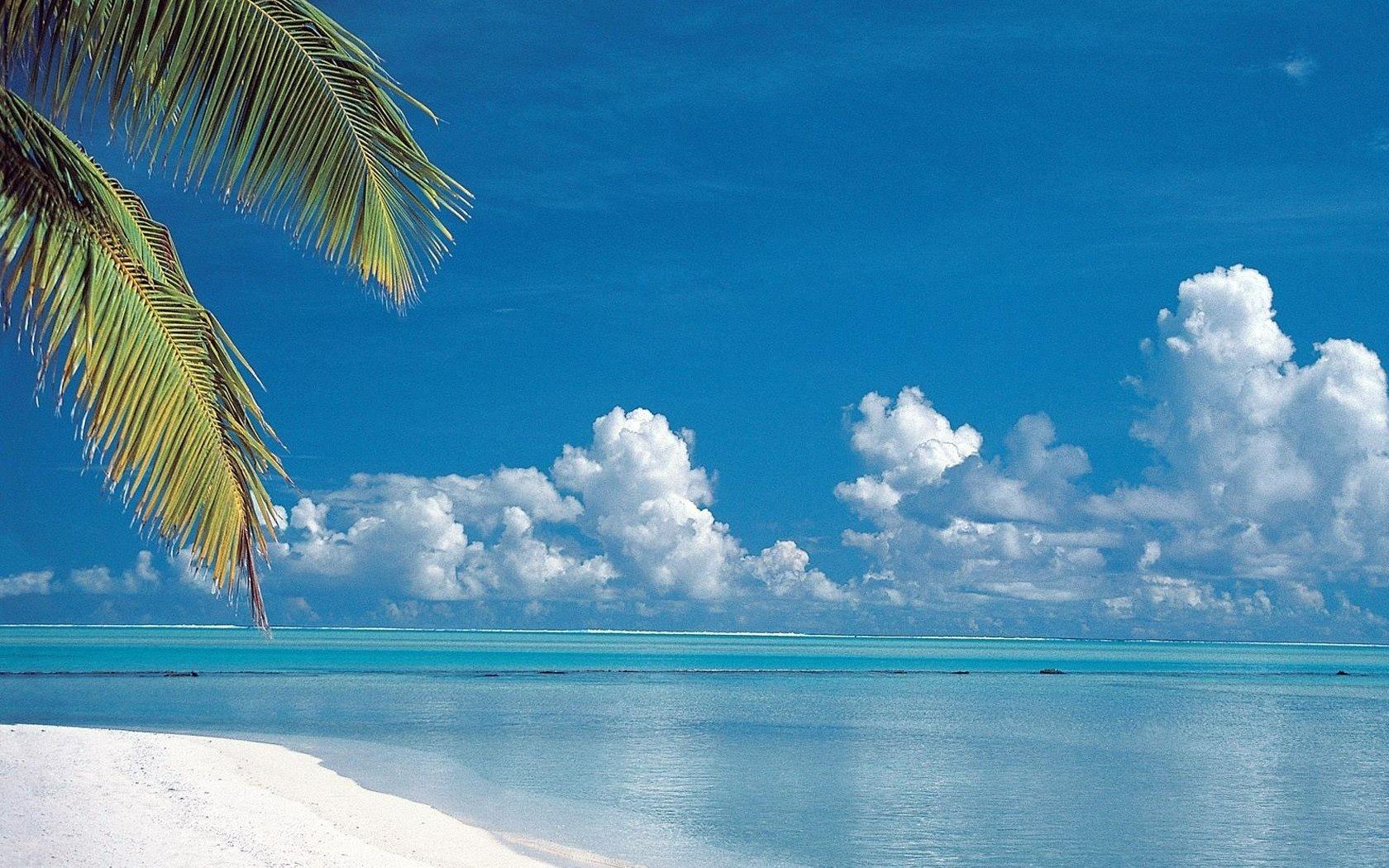 Meer blauer wellen wolken palmen sommer foto 1680x1050 sommer